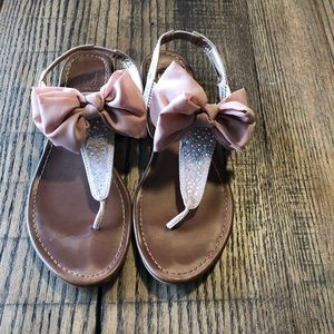 Cute blush colored bow sandals